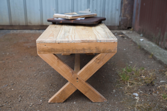 Coffee Table with Wooden X Legs