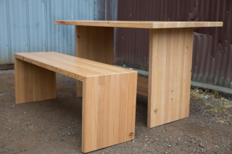 Fir Lam Trestle Table with Waterfall Bench