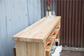 Tall Boy Table Wood Butcher Block