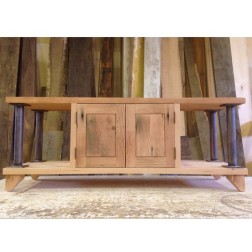 Modern Coffee Table with Cabinets Wood & Metal